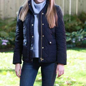 Navy quilted field jacket lightweight coat blue sm